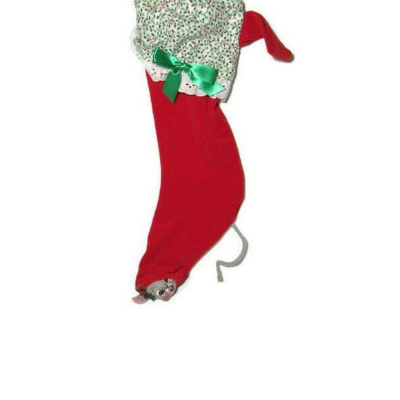 VTG Annalee Christmas Stocking Mouse Sticking Out